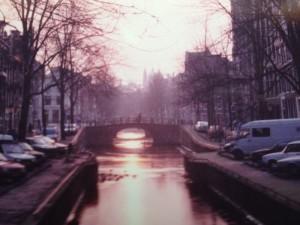 Une aurore d'Amsterdam en hiver